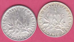 2 Pièces En Argent De 1 FRANC SEMEUSE 1904 Et  1916 - France