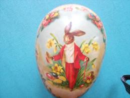 *OEUF DE PAQUES GERMANY Papier Maché  LAPIN FLEURS 9cmx6cm *NESTLER GERMAN EASTER EGG  Paper Mache RABBIT FLOWERS - Eggs