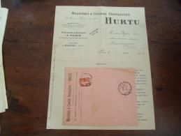 Facture Avec Enveloppe Machine A Coudre Hurtu Usine A Amiens - 1900 – 1949