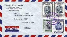 COSTA RICA 1959 - 4 Fach Frankierung Auf LP-Brief Von San Jose Nach Paris - Costa Rica