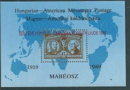 2422 Hungary Messenger Postage Stamp On Stamp Ovprt Memorial Sheet MNH - George Washington