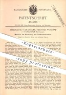 Original Patent - Aktiebolaget Göranssons , Mekaniska Werkstad In Stockholm , Schweden , 1885 , Zündholzschachtel , Holz - Zündholzschachteln