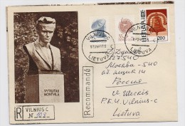 Lithuania Mail Cover Used USSR RUSSIA Baltic Lietuva Vilnius Sculpture - Lithuania