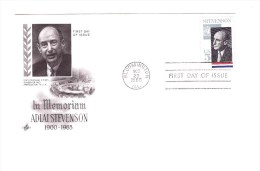 UNITED STATES 1965 Adlai Stevenson  FDC Yvert Cat N° 792 - First Day Covers (FDCs)