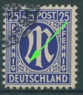 Bizone 1945 Am. Druck Mit Plattenfehler 9z F 18, Papier Z Gestempelt (R7692) - Bizone