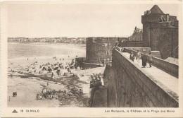 I3334 Saint Malo - Les Remparts - Le Chateau - La Plage Des Bains - Castello Castle Schloss Castillo / Non Viaggiata - Saint Malo