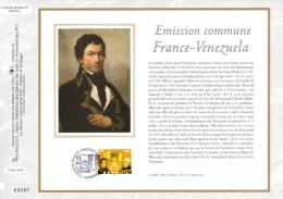 """FRANCE 2009 : Feuillet CEF 1er Jour N°té En Soie N° 2033s """" FRANCE - VENEZUELA """". N° YT 4408  . Parfait état. - Emissions Communes"""