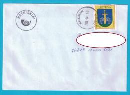 Lithuania Cover Sent From Post Office Natkiskiai  To Siauliai 2013 Coat Of Arms - Lituania