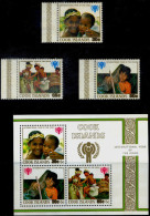CHILDREN-INTERNATIONAL YEAR OF THE CHILD-COOK ISLAND-SURCHARGED MS + SET OF 3-MNH-MS-634-15 - Kind & Jugend