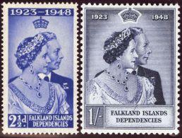 Südamerika Falkland Inseln 1948 Mi#96+97** Postfrisch Silberhochzeit - Falkland