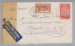Kanada Canada 1942-02-05 O.A.T. Zensur-Luftpostbrief Nach Basel - 1937-1952 Règne De George VI