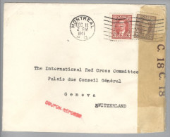 Kanada Canada 1941-12-11 Montreal Zensurbrief Nach Geneva - 1937-1952 Règne De George VI