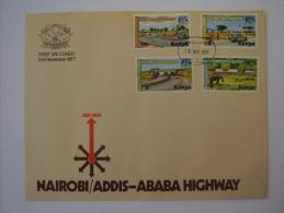 KENYA 1977 Nairobi-Addis Ababa Highway  ILLUSTRATED OFFICIAL  FDC With FULL SET (4 Values). - Kenia (1963-...)