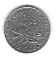 FRANCE - 1960 Circulating 1fr Coin  (#1960-01) - France