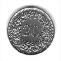 SWITZERLAND - 1967 Circulating 20 O Coin  (#HE1967-01) - Switzerland