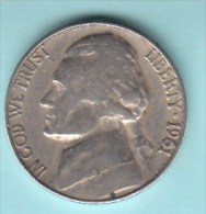 USA - 1961 Circulating 5¢ Coin  (#1961-05-01) - Federal Issues