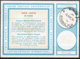 INDE / INDIA International Reply Coupon Reponse Antwortschein IRC IAS Type XIX  98 PAISE  O SAMBALPUR 12 DEC 70 - Sin Clasificación