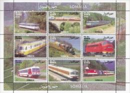 Somalia,  Scott 2014 # New Issue,  M/S Of 9,  MNH,  Cat $ $?,  Trains - Somalia (1960-...)