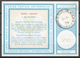 INDE / INDIA International Reply Coupon Reponse Antwortschein IRC IAS Type XXI  1.50 RUPEE  O DELHI 31.7.74 - Ganzsachen