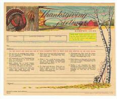 TELEGRAMME ETATS UNIS  WESTERN UNION THANKSGIVING FORMULAIRE DINDE VILLAGE ECUREUIL BOULEAU - Fêtes