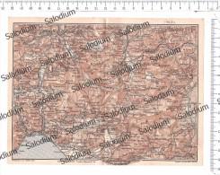CAMPAGNA EBOLI SALERNO S. CIPRIANO CASTEL S. GIORGIO MERCATO MONTORO SOLOFRA AVELLINO  Mappa Cartina Originale D´epoca - Mappe