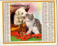 ALMANACH P TT 1972)   GERS-ANNEE BISSEXTILE - CHIEN ET CHAT: CALINERIES ,ENTENTE-PHOTOS STUDIO J M  OBERTHUR - Calendars