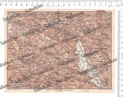 LAURINO SASSANO TEGIANO SALA CONSILINA BRIENZA SATRIANO VIETRI CAGGIANO ROCCADASPIDE  Mappa Cartina Originale D´epoca - Mappe