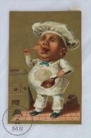 Rare & Old Italian Trading Card/ Chromo - Chef / Cook - Chocolate