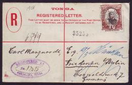 TONGA REGISTERED POSTAL STATIONERY KING GEORGE 11 H & G - Tonga (...-1970)