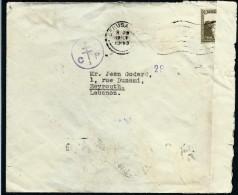 PALESTINE - Enveloppe De Jerusalem Pour Beyrouth En 1943 Avec Controle - à Voir - Lot P7488 - Palestine