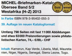 West-Afrika H-Z Band 5/2 MICHEL Catalogue 2013 Neu 74€ Africa Kamerun Liberia Niger Senegal Mauretanien Leone Togo Verde - Alte Papiere