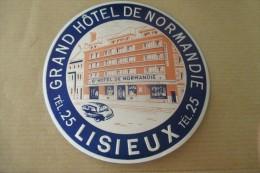 Etiquette D'hotel  Art Deco Pub HOTEL DE NORMANDIE LISIEUX - Etiquettes D'hotels