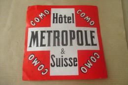Etiquette D'hotel  Art Deco Pub HOTEL METROPOLE SUISSE COMO - Etiquettes D'hotels