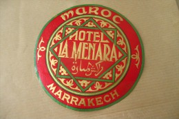 Etiquette D'hotel  Art Deco Pub HOTEL LA MENARA MAROC MARRAKECH - Etiquettes D'hotels