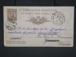 ITALIE - Entier Postal +réponse De Genes Pour Geneve Redirigée à Paris En 1881 - à Voir - Lot P7545 - 1878-00 Humbert I