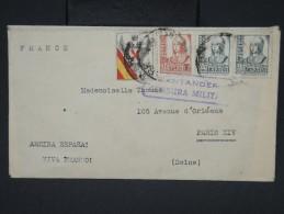 ESPAGNE - Enveloppe De Santander Pour Paris Avec Censure En 1938 - à Voir - Lot P7546 - Marcas De Censura Nacional