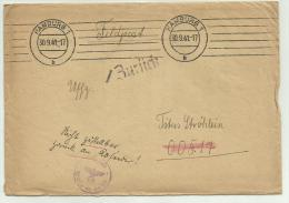 Feldpost Manoscritto Hamburg 1941 Timbro Censura - Documents