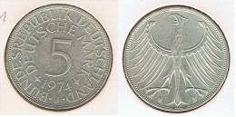 ALEMANIA 5 DEUTSCHE MARK J 1974 PLATA SILVER G1 - [ 6] 1949-1990 : RDA - Rep. Dem. Alemana