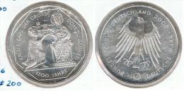 ALEMANIA 10 DEUTSCHE MARK G CARLOMAGNO 2000 PLATA SILVER G1 - [ 6] 1949-1990 : RDA - Rep. Dem. Alemana