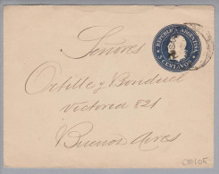 Argentinien 1901 Ganzsache Karte 5Cent Blau Mit Bild - Entiers Postaux