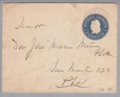 Argentinien 1901-01-10 Ganzs. 5Cent Blau Bildzudr.Plaza - Entiers Postaux
