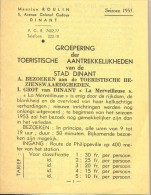 Brochure Toerisme Tourisme Stad Dinant - Tarif Prijslijst 1953 - Dépliants Touristiques