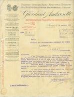 FACTURE LETTRE : TORINO . GIOVVANNI AMBROSETTI . TRANSPORT INTERNATIONAL MARITIME ET TERRESTRE . 1914 . - Italie
