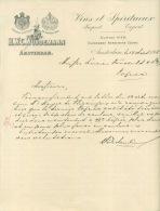 FACTURE LETTRE : AMSTERDAM . HWC. WURDEMANN . VINS ET SPIRITUEUX . 1908 . - Pays-Bas