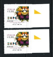 """2015 - EXPO Esposizione Universale """"Milano 2015"""" Mascotte ** 2 Valori - 6. 1946-.. Repubblica"""