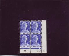 N° 1011B - 20F MULLER - H De G+H - Tirage Du 13.6.57 Au 15.7.57 - 3.07.1957 - - Dated Corners