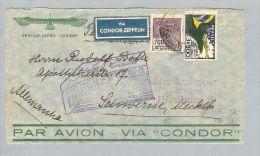 Brasilien Rio 1933-08-23 Zeppelin Flug #329>Schwerin De - Poste Aérienne