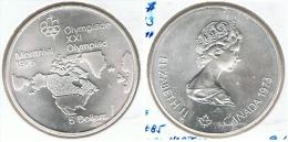 CANADA  5 DOLLAR 1976 OLIMPIADA MAPA PLATA SILVER G1 - Canada