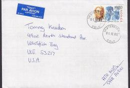 Norway PAR AVION Luftpost Label Deluxe SKØYENÅSEN 1988 Cover Brief WHITEFISH BAY United States Salvation Army Heils Armé - Briefe U. Dokumente