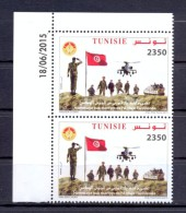 Tunisia/Tunisie 2015 -  Pair Of Perforated Stamps  - Honoring The Martyrs Of The Tunisian Army - Tunisia